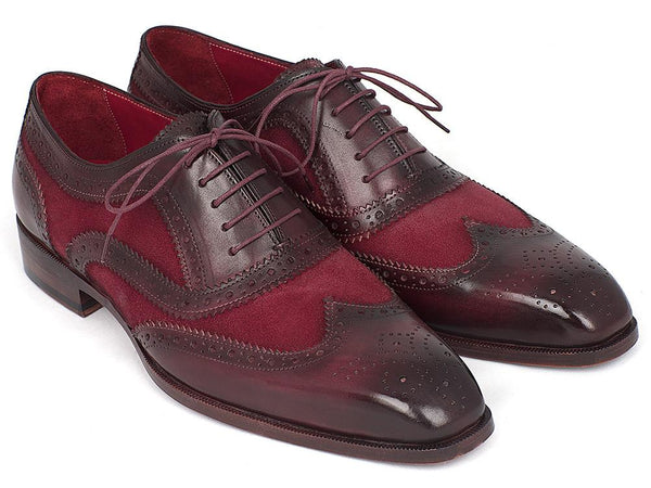 Paul Parkman Suede & Calfskin Men's Wingtip Oxfords Bordeaux (ID#228BRDSD)