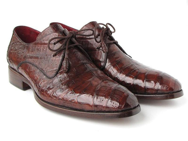 Paul Parkman Men's Brown Genuine Crocodile Derby Shoes (ID#55W77-BRW)