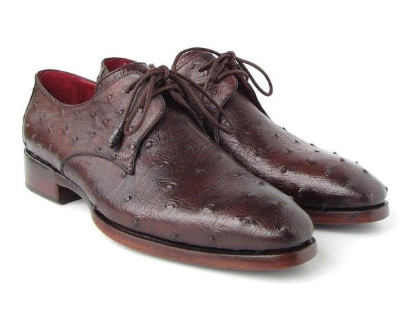 Paul Parkman Men's Brown Genuine Ostrich Derby Shoes (ID#33B76-BRW)