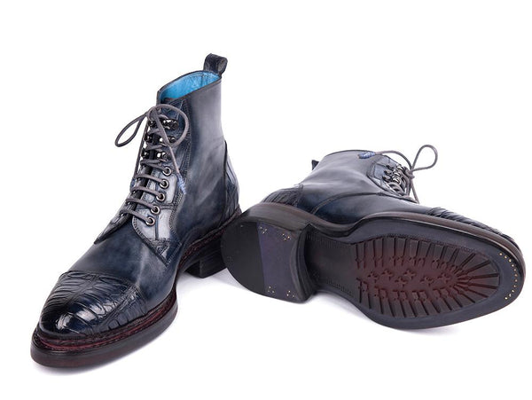 Paul Parkman Genuine Crocodile & Calfskin Captoe Boots Navy (ID#PW611-NVY)