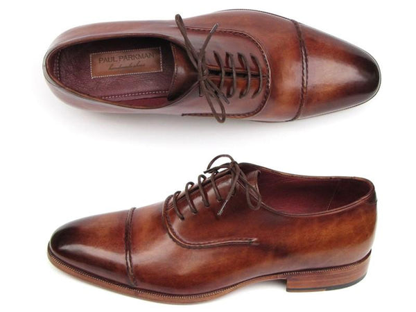 Paul Parkman Men's Captoe Oxfords Brown Hand Painted Shoes (ID#077-BRW)