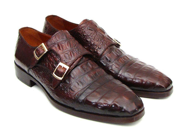 Paul Parkman Men's Double Monkstraps Brown & Bordeaux Crocodile Embossed Calfskin (ID#045FG12)