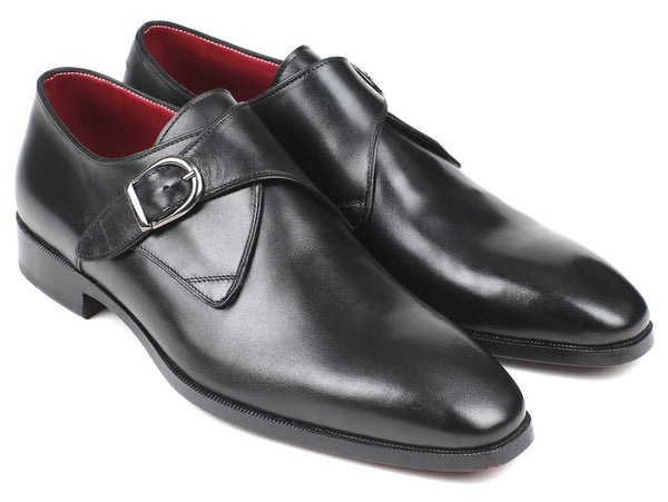 Paul Parkman Black Leather Single Monkstraps (ID#011BLK54)