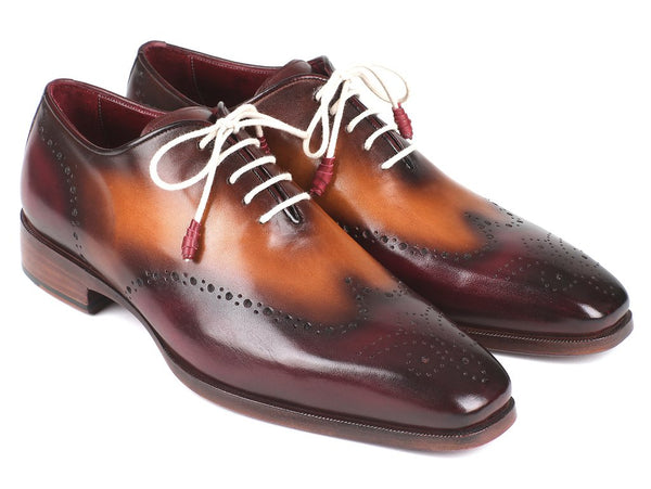 Paul Parkman Bordeaux & Camel Wingtip Oxfords (ID#097BY30)