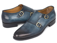 Paul Parkman Navy Double Monkstrap Shoes (ID#HT54-NAVY)