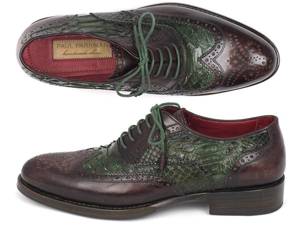 Paul Parkman Goodyear Welted Green Genuine Python & Brown Calfskin Wingtip Oxfords (ID#27PT-GRNBRW)