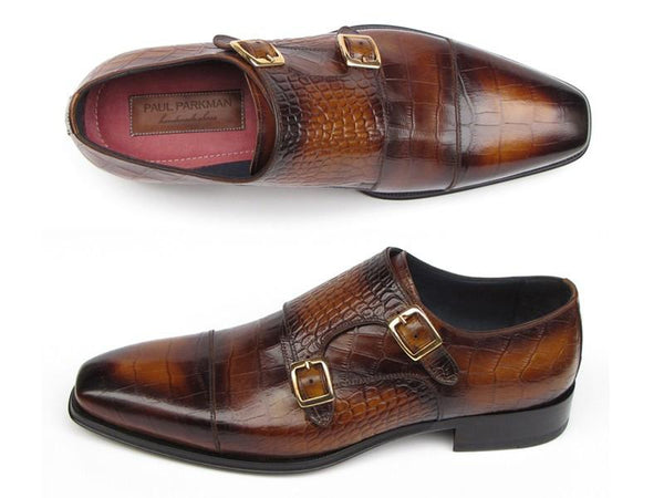 Paul Parkman Men's Brown Crocodile Embossed Calfskin Double Monkstrap (ID#045-APR-BRW)