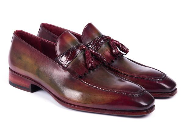 Paul Parkman Bordeaux & Green Calfskin with Genuine Crocodile Tassel Loafers (ID#5155-GBD)