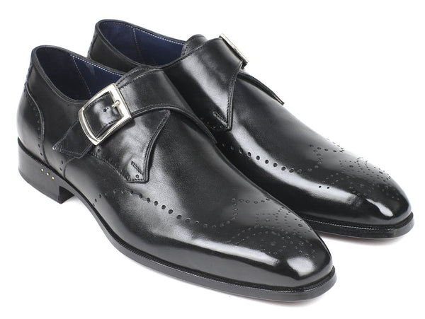 Paul Parkman Wingtip Single Monkstraps Black (ID#98F54-BLK)