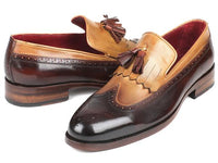 Paul Parkman Kiltie Tassel Loafer Beige & Brown (ID#KT57BJ)