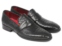 Paul Parkman Men's Genuine Python Loafers Black (ID#11BLK62)