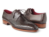 Paul Parkman Men's Brown Genuine Python (snakeskin) Derby Shoes (ID#66CK94-BRW)