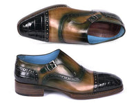 Paul Parkman Green Genuine Crocodile & Calfskin Captoe Monkstrap Shoes (ID#899-GRN)