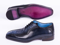 Paul Parkman Navy Genuine Ostrich Leg Bicycle Toe Oxfords (ID#94DLNVY)
