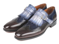 Paul Parkman Kiltie Monkstraps Blue & Brown (ID#52SL79)