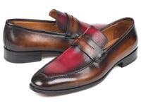 Paul Parkman Brown & Bordeaux Dual Tone Loafers for Men (ID#10BB22)