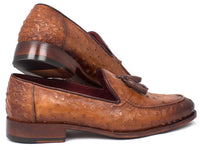 Paul Parkman Camel Brown Genuine Ostrich Tassel Loafers (ID#OST834CML)