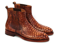 Paul Parkman Goodyear Welted Python Boots Brown (ID#BT89PY)