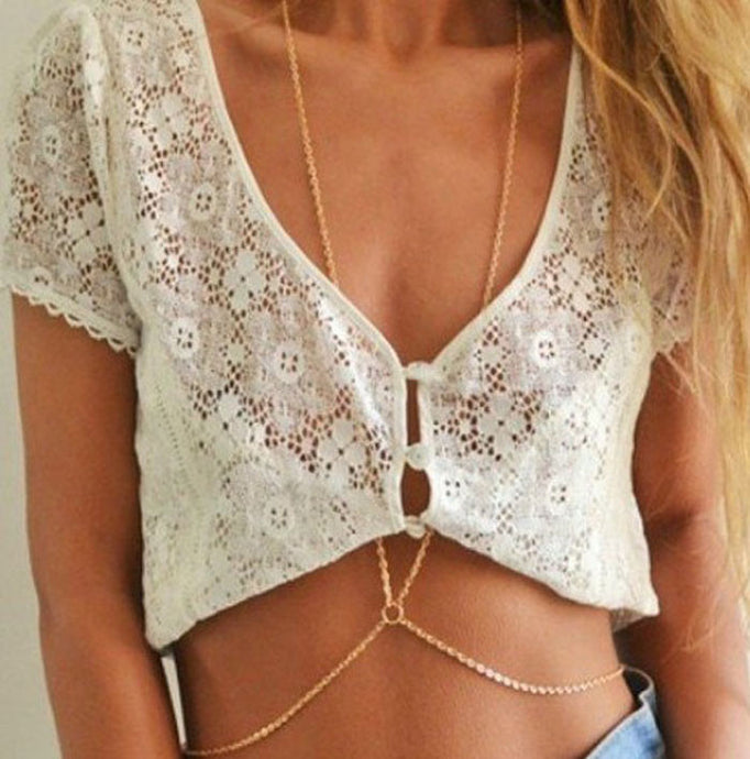 Women's Bikini Crossover Harness Necklace