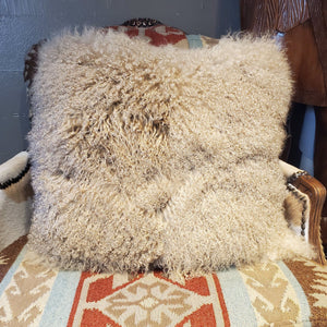 "24"" x 24"" Tan Curly Lamb Pillow - PCH21"