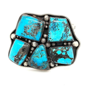(B) 5- Turquoise Stones set in Sterling Silver - Cuff84