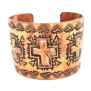 (B) Copper Cross Cuff - Signed - CUFF200