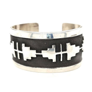 (B) Hopi Design Traditional Sterling Overlay Silver Cuff - CUFF74