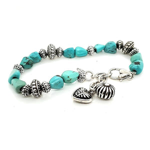(B) Turquoise & Stamped beads Bracelet - BR33