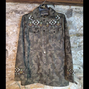 Camou Leather Jacket with Beaded Detail - JKSY14