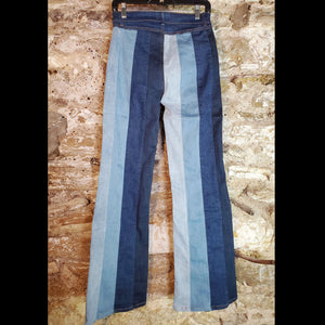 Denim Color Block Flare Jeans - PTSY3