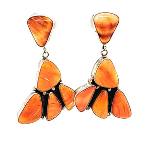 (E) Orange Spiny Oyster Cluster Earrings - EAR307