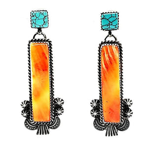 (E) Spiny Oyster / Turquoise Earrings - E307