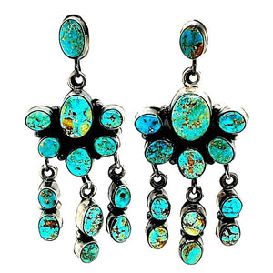 "(E) Turquoise Chandalier ""E. Largo"" Earrings - E274"