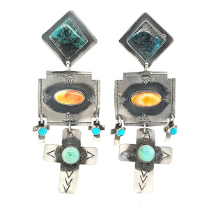 (E) Turquoise Cross Dangles, Spiny Oyster, Sterling Earrings - EAR310-A