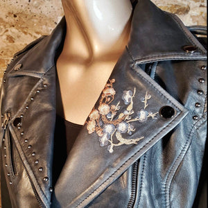 Leather Jacket, Moto Floral Embroidery - JKSY1