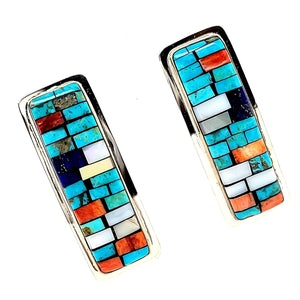 Multi-Stone inlaid Earrings - E429