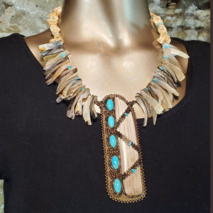 (N) Necklace Petrified Wood, Oyster Shell & Campitas Mine Turquoise - SZN139