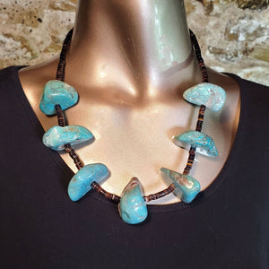 (N) Turquoise Nugget/Heishi Necklace - BDN17