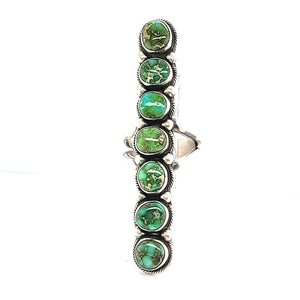 "(R) Green Turq. 7 Stone Ring Size 9 ""Kathleen"" Ring - R155"