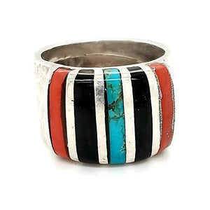 (R) Jet / Turquoise / Coral Ring - R68