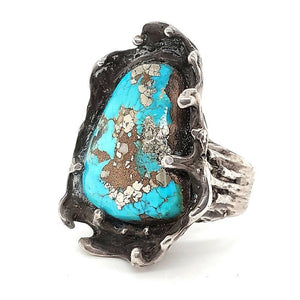 (R) Ring Turquoise With Pyrite, SZ 10.5 - R42
