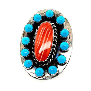"(R) Turquoise / Spiny Oyster Ring - ""Harold J"" - Sz 6.5"" - R184"