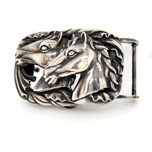 Sterling Silver Horse Belt Buckle - BBH