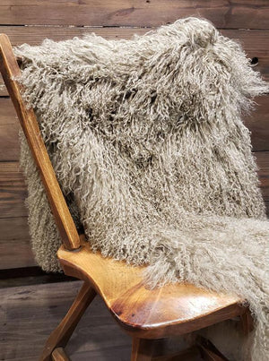 Tibetan Curly Lamb Throw - Taupe