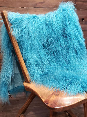Tibetan Curly Lamb Throw - Teal