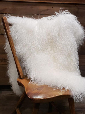 Tibetan Curly Lamb Throw - White