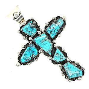 Turquoise / Sterling Cross Pendant - CB - PEND170