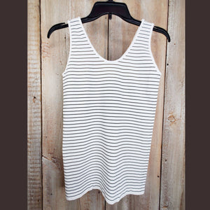 White Bamboo Striped Tank - BAMSTW