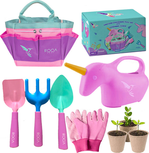 Big Gardening Box - Kids Unicorn Gardening Tools and Gardening Crafts! - ROCA Toys