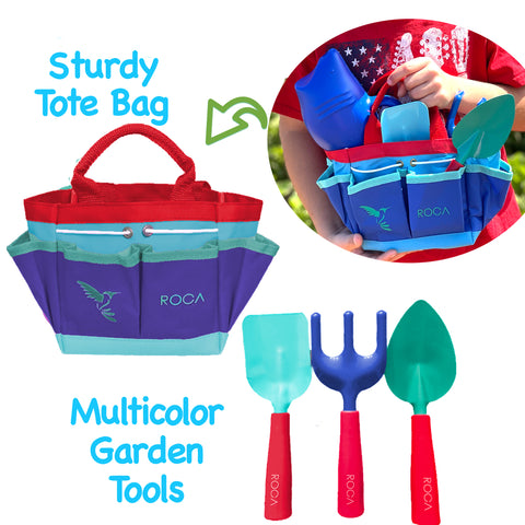 Kids Gardening Tools Shark Edition with Gardening Gloves and Learning Guide - ROCA Toys